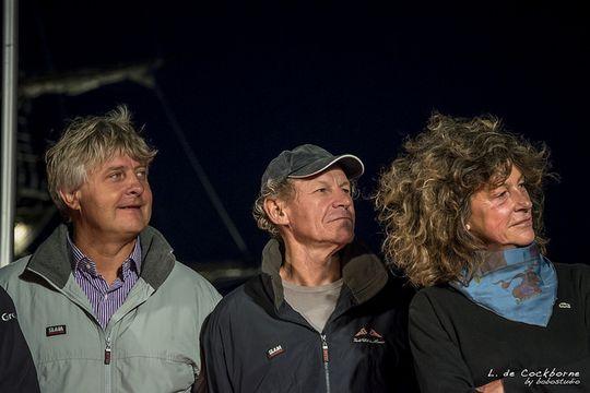 """Laurent Bourgnon, Philippe Poupon et Florence Arthaud en 2014 à St-Malo pour la 10ème édition du """"Rhum"""""""