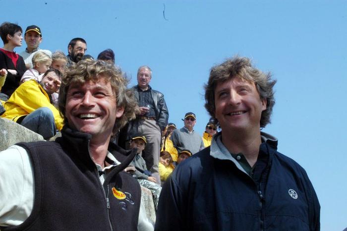 Laurent en compagnie de son fils spirituel hauturier, Bernard Stamm - vers 2005