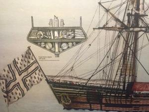 Détail et coupe d'un navire négrier du XVIIIème siècle